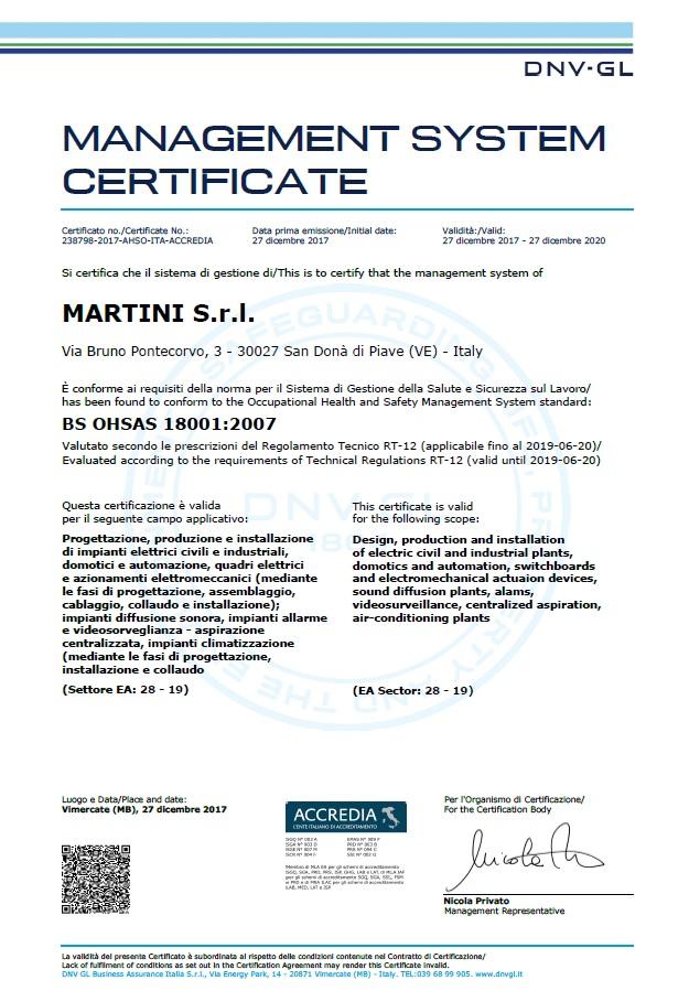 Certificazione ohsas 18001 2007 martini s r l for Certificazione impianti